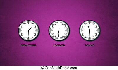 New York, London and Tokyo time, world time zones, three...