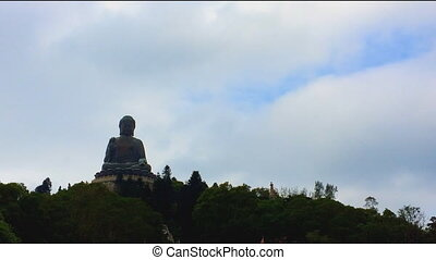 The big Buddha Tian Tan Buddha in Lantau Island, in Hong...