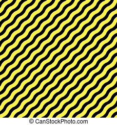 diagonal wavy yellow stripes against black background,...