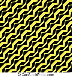 diagonal curved yellow stripes against black background,...