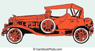 orange classic car against blue background, abstract vector...