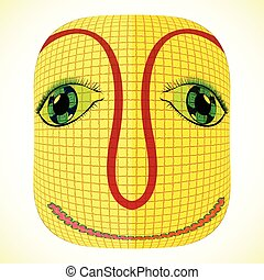 funny mardi gras mask with square patchwork, abstract vector...