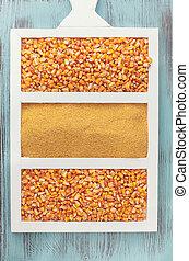 maíz, granos, y, Harina de maíz,
