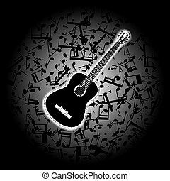 acoustic guitar on the background of musical notes