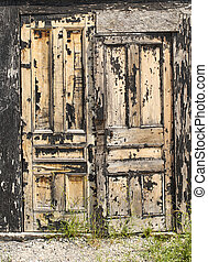 old black door - old black woody door with shabby paint