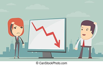Business people with loss arrow
