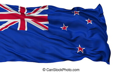 Isolated Waving National Flag of New Zealand