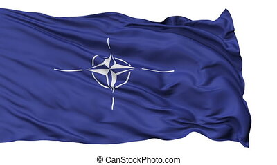 Isolated Waving Flag of Nato - Nato Flag Realistic Animation...