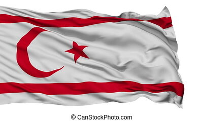 Isolated Waving National Flag of Northern Cyprus - Northern...