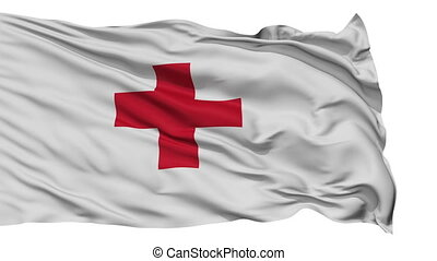 Isolated Waving Flag of Red Cross - Red Cross Flag Realistic...