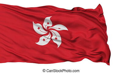 Isolated Waving National Flag of Hong Kong - Hong Kong Flag...