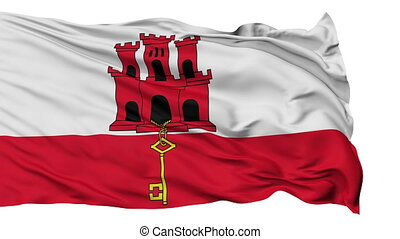 Isolated Waving National Flag of Gibraltar - Gibraltar Flag...