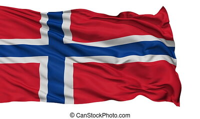 Isolated Waving National Flag of Norway