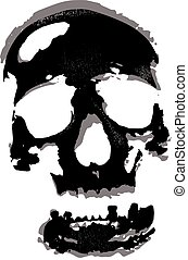 grunge skull on white background illustration with textures