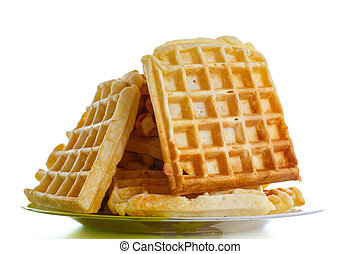 Viennese sweet waffles on a white background