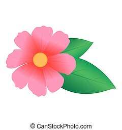 Pink Flower With Green Leaves | Vector Illustration