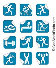 Stickers fitness sport icons.
