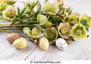 Easter decoration pastel colors flowers