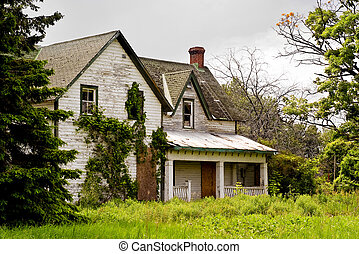 Front of Abandonded Lock Masters House - An abandoned,...