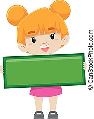 Girl holding Subtraction Symbol - Vector Illustration of a...