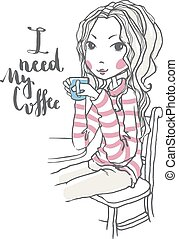 Cute girl illustration - Beautiful chic girl holding coffee...