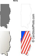 Ferry County, Washington outline map set - Ferry County,...