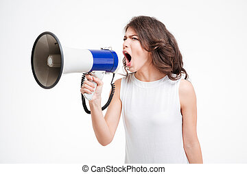 Young woman shouting into loudspeaker isolated on a white...