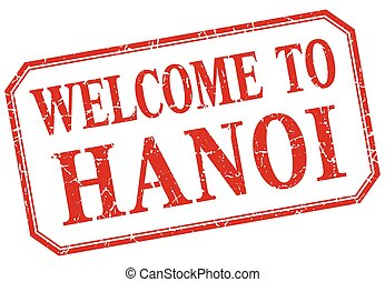 Hanoi - welcome red vintage isolated label