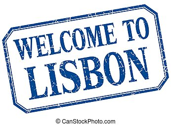 Lisbon - welcome blue vintage isolated label