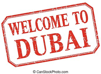 Dubai - welcome red vintage isolated label