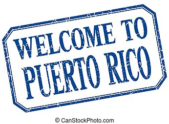 Puerto Rico - welcome blue vintage isolated label