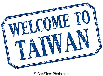 Taiwan - welcome blue vintage isolated label