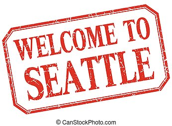 Seattle - welcome red vintage isolated label
