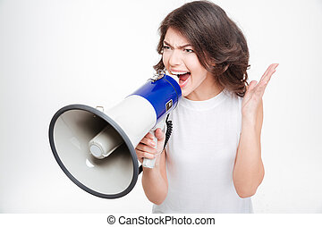 Woman screaming into megaphone - Young woman screaming into...