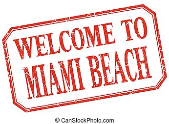 Miami Beach - welcome red vintage isolated label