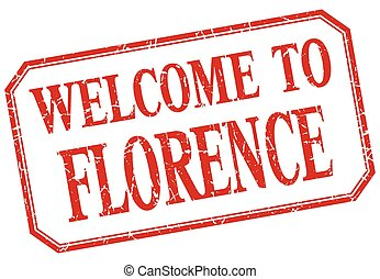 Florence - welcome red vintage isolated label
