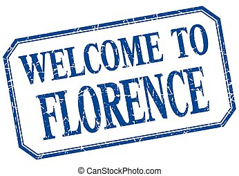 Florence - welcome blue vintage isolated label