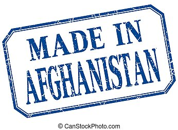 Afghanistan - made in blue vintage isolated label