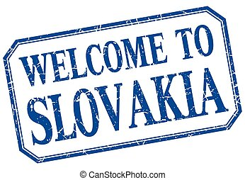 Slovakia - welcome blue vintage isolated label