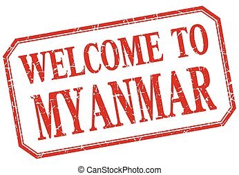 Myanmar - welcome red vintage isolated label