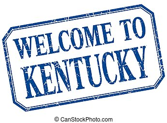 Kentucky - welcome blue vintage isolated label