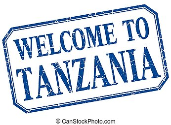 Tanzania - welcome blue vintage isolated label