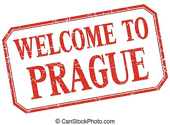 Prague - welcome red vintage isolated label