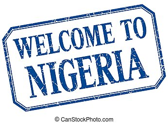 Nigeria - welcome blue vintage isolated label