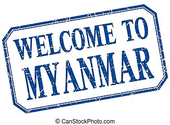 Myanmar - welcome blue vintage isolated label