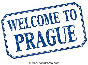 Prague - welcome blue vintage isolated label