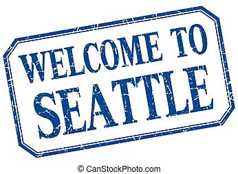 Seattle - welcome blue vintage isolated label