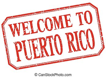 Puerto Rico - welcome red vintage isolated label