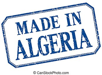 Algeria - made in blue vintage isolated label