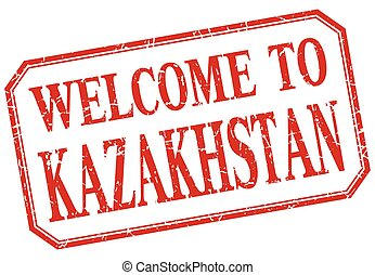 Kazakhstan - welcome red vintage isolated label